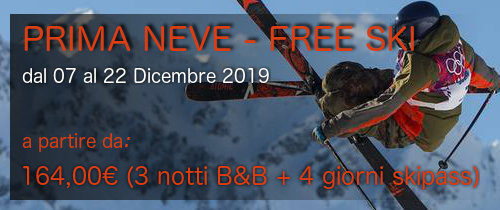 """Offerta Speciale """"PRIMA NEVE – FREE SKI"""" dal 07 al 22 Dicembre 2019"""